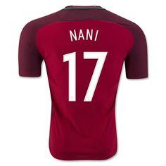 Portugal Euro 2016 Home Authentic Men Soccer Jersey NANI #17