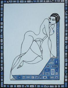 Donna in azzurro (Blue woman), acrylic on canvas, 40x30cm, 2013