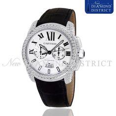 6.35ct Diamond Calibre De Cartier Chronograph Stainless Steel W7100046 Watch #Cartier