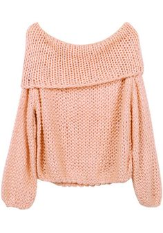 Cowl Neck Sweater - Peach - 90's-Inspired Chunky Fuzzy Top