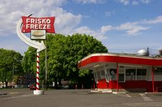 Frisko Freeze... classic still serving burger joint in Tacoma, Washington... right by famous (10 Things I Hate About You movie) Stadium High School and Point Defiance Park....Go! Yummy fries and onion rings. Out of every desert- I recommend the butterscotch sundae...dreamy sauce