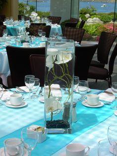 Blue wedding centre pieces