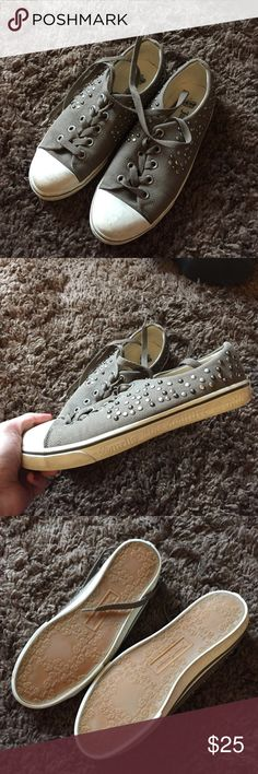 Juicy Couture army green lace up shoes Size 8, a little discoloration in the white parts which is why there's a discount, very rare (no longer sold anywhere) Juicy Couture Shoes Sneakers