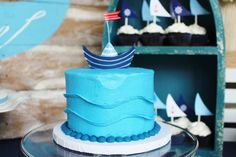 Cool cake at a nautical birthday party! See more party planning ideas at CatchMyParty.com!