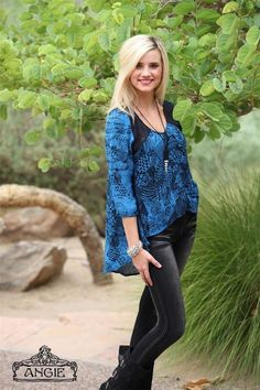 Angie Clothing Women's Black Blue Shirt Blouse High-Low Top Rayon Long Sleeve