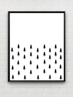 Instant Download, PRINTABLE abstract woodland wall art, Scandinavian black and white nursery art print, modern home decor, minimalist wall art