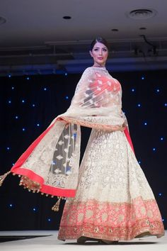 Gorgeous Manish Malhotra https://www.facebook.com/pages/Manish-Malhotra/147482601960327 white, pink & orange #Lehenga.
