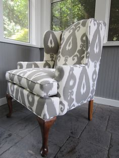 Accent Chair - Grey Ikat