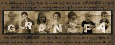 You could use this idea for: mom, dad, grandparents, or really any one you loved!   Buy white craft letters and take pictures with your kids and each letter, edit, print, put in frame, and gift!
