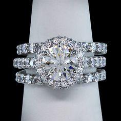2.76 carat halo diamonds ring 3 row by diamondsfromnewyork on Etsy