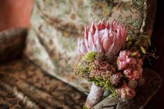 Pastel wedding bouquet with protea by goamoon.ru