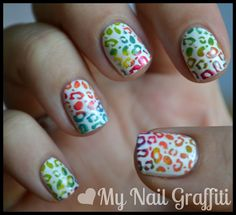 Leopard print with multi colors on the stamp