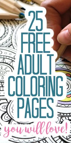 Get these 25 free adult coloring pages and relax a bit! These free printables are perfect for adults and even older kids! #coloringpages #freeprintable #coloring Free Adult Coloring Pages, Coloring Pages To Print, Free Printable Coloring Pages, Free Printables, Country Chic Cottage, Relax, Activities, Kids, Young Children