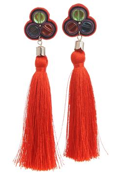 Cercei Ondine ciucuri matase rosie Ondine, Tassels, Drop Earrings, Jewelry, Fashion, Moda, Jewlery, Jewerly, Fashion Styles