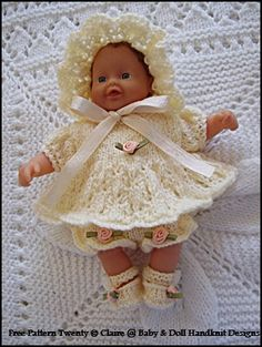 """Dolls clothes knitting pattern V Doll 100 Layette for  10/"""" Baby doll."""