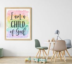 I am a Child of God, Galatians 3:26, Bible Verse Printable by LilaPrints. Nursery Decor, Scripture Prints, Christian Gifts, Kids Room, Nursery Bible Quote #nurseryquotes #wallpainting #kitchenwalldecor #art