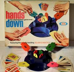 Hands Down Vintage Ideal Toy Game by Christian Montone, via Toys Vintage Toys 1960s, 1960s Toys, Retro Toys, Vintage Tv, 1980s, My Childhood Memories, Childhood Toys, Sweet Memories, School Memories