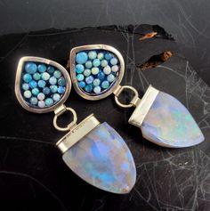 Opal Mosaic and Slab Earrings by danaevansstudio on Etsy