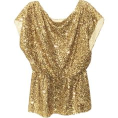 Pre-owned Alice + Olivia Sequine - Top Gold ($153) ❤ liked on Polyvore featuring tops, blouses, shirts, gold, alice olivia top, stretchy tops, stretch shirt, gold sequin top and brown tops
