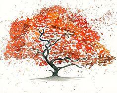Japanese maple Tree Landscape paintingWatercolorOrange by Ireart, $19.00