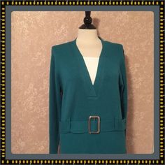 Chickadee Faux Twinset Knit Sweater Teal Blue Womens Extra Large XL #Chicadee #Twinset