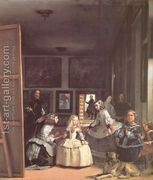 """""""Las Meninas"""" by Diego Velázquez, c. Velázquez was the leading artist of the Spanish Golden Age. The painting is on display at the Museo del Prado. Note: the man on the left side of the painting is the artist himself Most Famous Paintings, Great Paintings, Dog Paintings, Famous Artists, Classic Paintings, Portrait Paintings, Portrait Art, Diego Velazquez, Baroque Art"""