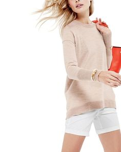 J.Crew women's tunic sweater in oatmeal white, harbor short in white, and new Uptown tote bag. To preorder call 800 261 7422 or email verypersonalstylist@jcrew.com.