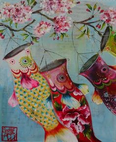 Painting by Sophie Adde by juliana Cute Illustration, Watercolor Illustration, Watercolor Art, Koi, Cool Doodles, Japanese Prints, Fish Art, Paper Lanterns, Illustrations