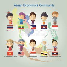 Illustration about Asean Economics Community(AEC) eps 10 format. Illustration of southeast, philippines, culture - 64558415 Laos People, Hetalia, Economics, Paper Dolls, Singapore, Thailand, Students, Community, Symbols