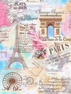 retro Paris Eiffel Tower fabric by Timeless Treasures pastel - Retro Fabric - Fabric - kawaii shop Vintage Paris, Vintage Retro, Vintage Yellow, Vintage Style, I Love Paris, Poster S, Paris Poster, Paris Eiffel Tower, Paris Theme