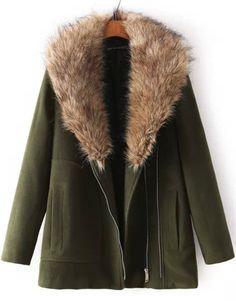 Green Long Sleeve Faux Fur Lapel Woolen Coat - Sheinside.com