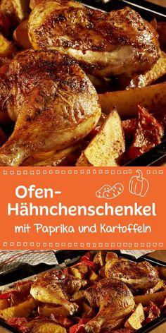 In Kombination mit Paprika und Kartoffeln schmecken diese Hähnchenkeulen vom Blech besonders lecker.
