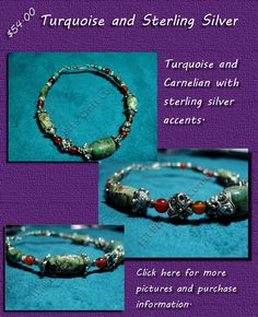 #Turquoise and #carnelian #bangle.  Click for more pictures: http://lilbitscc.wordpress.com/2010/05/05/turquoise-and-carnelian/