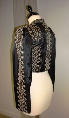 Reserved Matador Bolero Black Jacket With Ecru Cord
