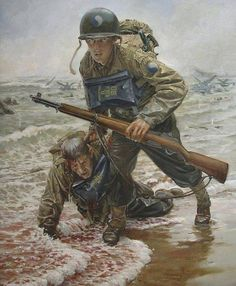 the_ww2_memoirs - The Longest Day -  The painting above depicts a young and dazed soldier of the 29th Infantry Division pulling a wounded comrade through the tail of bullets on Omaha Beach, June 6th, 1944. The 29th Infantry Division was primarily composed of young American boys who had not experinaced combat before. These inexperinaced and naive soldiers were selected as the spearhead of the taking of Omaha Beach, they were seen as expandable. The 29th Division however became one of the most…