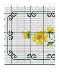 Cross Stitch Borders, Cross Stitch Flowers, Cross Stitch Designs, Embroidery, Sewing, Floral, Handmade, Ideas, Easy Cross Stitch