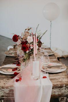 Dark Red and Blush Pink Vintage Wedding Inspiration at the Propcellar Dark Pink Weddings, Burgundy And Blush Wedding, Red Wedding, Floral Wedding, Wedding Day, Blush Pink, Valentines Day Weddings, Vintage Valentines, Blush Wedding Cakes