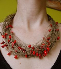 Necklace with red coral, 925 silver clasp  from Jewelry&Hand Made by DaWanda.com
