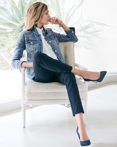 I like this outfit a lot! And those shoes! Women's Embroidered Denim Jacket by White House Black Market Mode Outfits, Casual Outfits, Fashion Outfits, Fashion Mode, Work Fashion, High Fashion, Embroidered Denim Jacket, Latest Fashion For Women, Womens Fashion