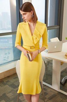 45 Lovely Dress For Work Short Dresses, Dresses For Work, Casual Dresses, Formal Dresses, Yellow Formal Dress, Pinterest Fashion, Lovely Dresses, African Dress, Classy Outfits