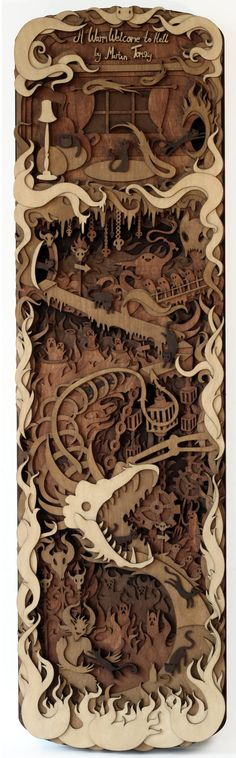 """A Warm Welcome"" by mtomsky  Layered, laser cut, plywood illustration."
