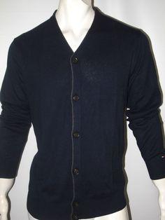 Tommy Hilfiger men's sweater cardigan tipped size xl NWT #TommyHilfiger #Cardigan