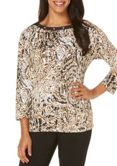 Rafaella Women's Petite Tribal Abstract 3/4 Sleeve Boat Neck Top - Safari - Xlarge Petite