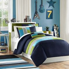 Navy, Teal, Light Green Boys Twin Reversible Comforter and Sham Set Plus BONUS PILLOW by LB, http://www.amazon.com/dp/B00D9B47B0/ref=cm_sw_r_pi_dp_Gq-Zrb0NDTJ4W