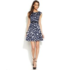 INC International Concepts Belted Printed A-Line Dress ($24) ❤ liked on Polyvore featuring dresses, butterfly fields, a line dress, belted dress, scoopneck dress, butterfly dress and zip dress