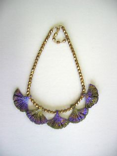 Gingko Leaf Necklace  in Purples and Olive Green  by Diane Fitzgerald