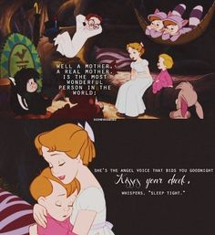 Peter pan..this is sad cause walt Disney lost his mom when he was young and thats why he usually made movies of the character losing their mother