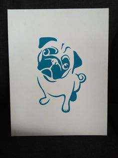BLUE Pug Painting on Canvas by AriEagle on Etsy