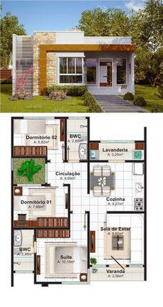 Fonte: http://www.plantasdecasas.com/projetos/casa-natal-estilo-moderno-para-casa-pequena-com-3-quartos-e-suite/ #plantasdeinterior
