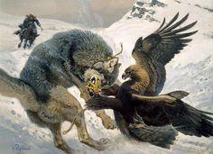 "Kazakhstani painter Vadim Gorbatov. ""Hunting with the Berkut (Eagle). Steel grip"""